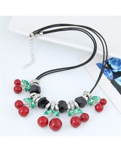 Cherry Decorated High Fashion Rope Costume Necklace