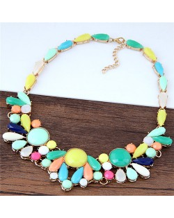 Summer Fashion Candy Colors Gem Short Costume Necklace