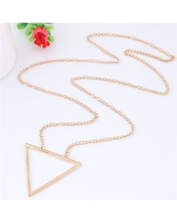 Simple Triangle Pendant Long Chain Fashion Necklace - Golden