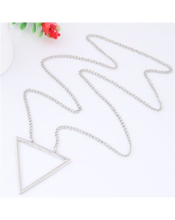 Simple Triangle Pendant Long Chain Fashion Necklace - Silver