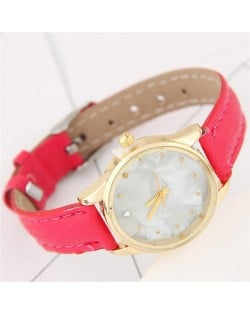 Plain Marble Texture Dial Fashion Wristband Watch - Rose