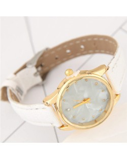 Plain Marble Texture Dial Fashion Wristband Watch - White