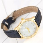 Plain Marble Texture Dial Fashion Wristband Watch - Ink Blue