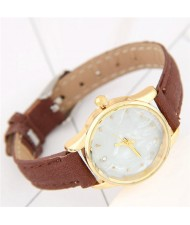 Plain Marble Texture Dial Fashion Wristband Watch - Brown