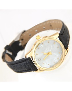 Plain Marble Texture Dial Fashion Wristband Watch - Black