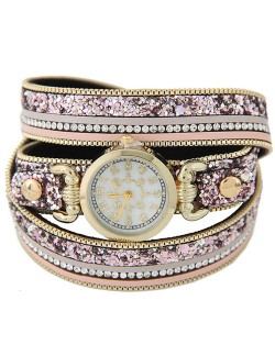 Tiny Sequins Embellished Triple Layers Vintage Fashion Golden Women Wrist Watch - Pink