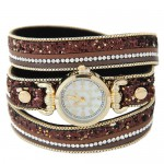 Tiny Sequins Embellished Triple Layers Vintage Fashion Golden Women Wrist Watch - Coffee