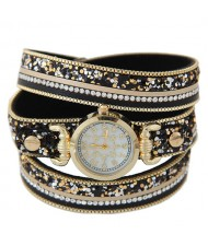 Tiny Sequins Embellished Triple Layers Vintage Fashion Golden Women Wrist Watch - Black