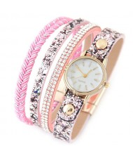 Shining Beads and Tiny Sequins Decorated Four Layers Twining Fashion Wrist Watch - Pink