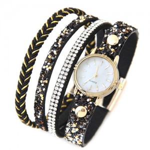 Shining Beads and Tiny Sequins Decorated Four Layers Twining Fashion Wrist Watch - Black