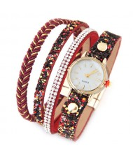 Shining Beads and Tiny Sequins Decorated Four Layers Twining Fashion Wrist Watch - Red