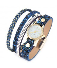 Shining Beads and Tiny Sequins Decorated Four Layers Twining Fashion Wrist Watch - Blue