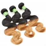 3 Bundles 100% Human Hair Body Wave Color T1B/27 Ombre Hair Weaves/ Wefts