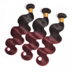 3 Pieces 100% Human Hair Body Wave Burgundy Color 1B/99J Ombre Brazilian Virgin Hair Weaves/ Wefts