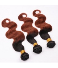 3 Pieces 100% Human Hair Color 1B/30 Body Wave Ombre Brazilian Virgin Hair Weaves/ Wefts