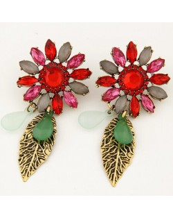 Baroque Style Flower and Dangling Golden Leaves Fashion Earrings