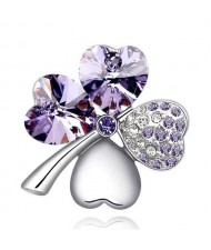 Austrian Crystal and Czech Stones Four Leaf Clover Brooch - Violet