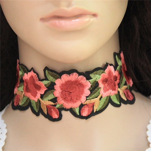 Embroidered Roses High Fashion Cloth Choker Necklace