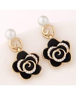 Czech Rhinestone Embellished Delicate Graceful Roses Fashion Stud Earrings - Black