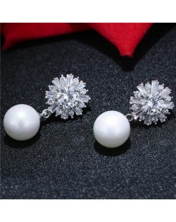 Cubic Zirconia Flower with Dangling Ball Design Fashion Stud Earrings
