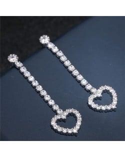 Shining Cubic Zirconia Cute Heart Dangling Fashion Earrings