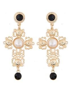 Royal Fashion Floral Hollow Cross Design Golden Stud Earrings