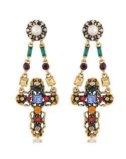 Rhinestone and Gems Inlaid High Fashion Dangling Cross Design Stud Earrings