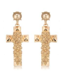Champagne Rhinestone Inlaid Elegant Cross Design Fashion Stud Earrings