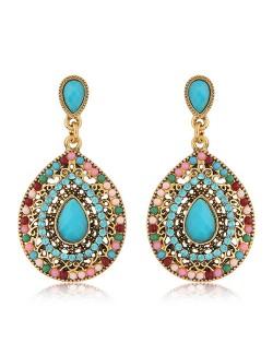 Rhinestone and Assorted Gems Embellished Vintage Waterdrop Design Fashion Earrings - Sky Blue