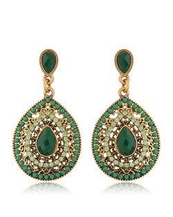Rhinestone and Assorted Gems Embellished Vintage Waterdrop Design Fashion Earrings - Green