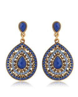 Rhinestone and Assorted Gems Embellished Vintage Waterdrop Design Fashion Earrings - Royal Blue