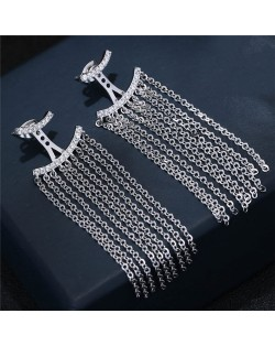 Cubic Zirconia Embellished Curves with Chains Tassel Design Fashion Earrings