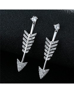 Cubic Zirconia Embellished Arrow Design Fashion Stud Earrings