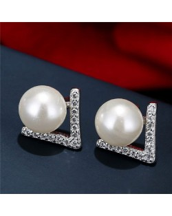 Pearl and Cubic Zirconia Inlaid Unique Elegant Style Women Fashion Stud Earrings - White