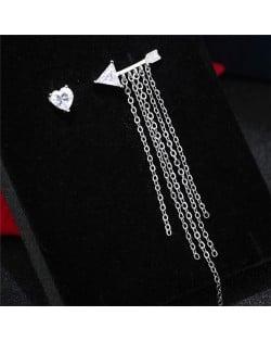 Arrow Through the Heart Asymmetric Design Tassel Fashion Stud Earrings