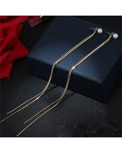 Graceful Long Tassel Pearl Stud Earrings - Golden