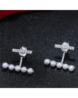 Sweet Korean Fashion Pearl and Cubic Zirconia Elegant Costume Earrings - Silver