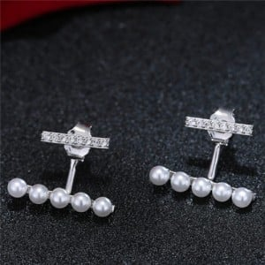 Sweet Korean Fashion Pearl And Cubic Zirconia Elegant Costume Earrings Silver