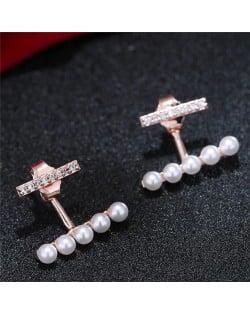 Sweet Korean Fashion Pearl and Cubic Zirconia Elegant Costume Earrings - Rose Gold
