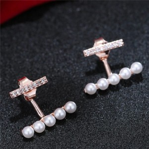 Sweet Korean Fashion Pearl And Cubic Zirconia Elegant Costume Earrings Rose Gold