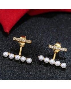 Sweet Korean Fashion Pearl and Cubic Zirconia Elegant Costume Earrings - Golden