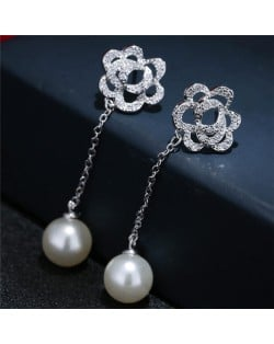 Cubic Zirconia Embellished Hollow Flower with Dangling Pearl Design Stud Earrings
