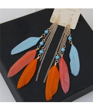 Bohemian Fashion Dangling Feather and Chain Tassel Design Earrings - Multicolor