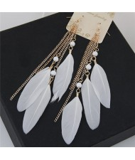 Bohemian Fashion Dangling Feather and Chain Tassel Design Earrings - White
