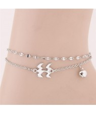 Twelve Constellations Series Sweet Style Women Fashion Anklets - Aquarius