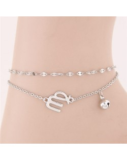 Twelve Constellations Series Sweet Style Women Fashion Anklets - Virgo