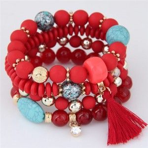 Assorted Beads with Tassel Design Four Layers Candy Color High Fashion Bracelets - Red