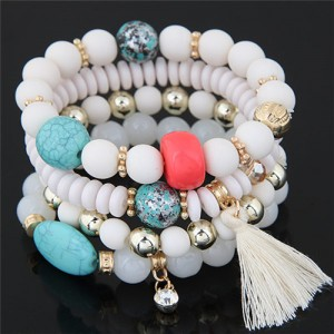 Assorted Beads with Tassel Design Four Layers Candy Color High Fashion Bracelets - White