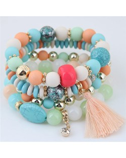 Assorted Beads with Tassel Design Four Layers Candy Color High Fashion Bracelets - Teal