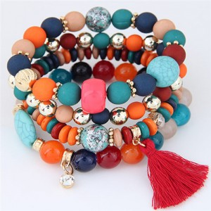Assorted Beads with Tassel Design Four Layers Candy Color High Fashion Bracelets - Multicolor